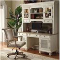 Riverside Furniture Coventry Two Tone Shutter Door Credenza Desk with 2 Doors - Shown with Chair & Hutch