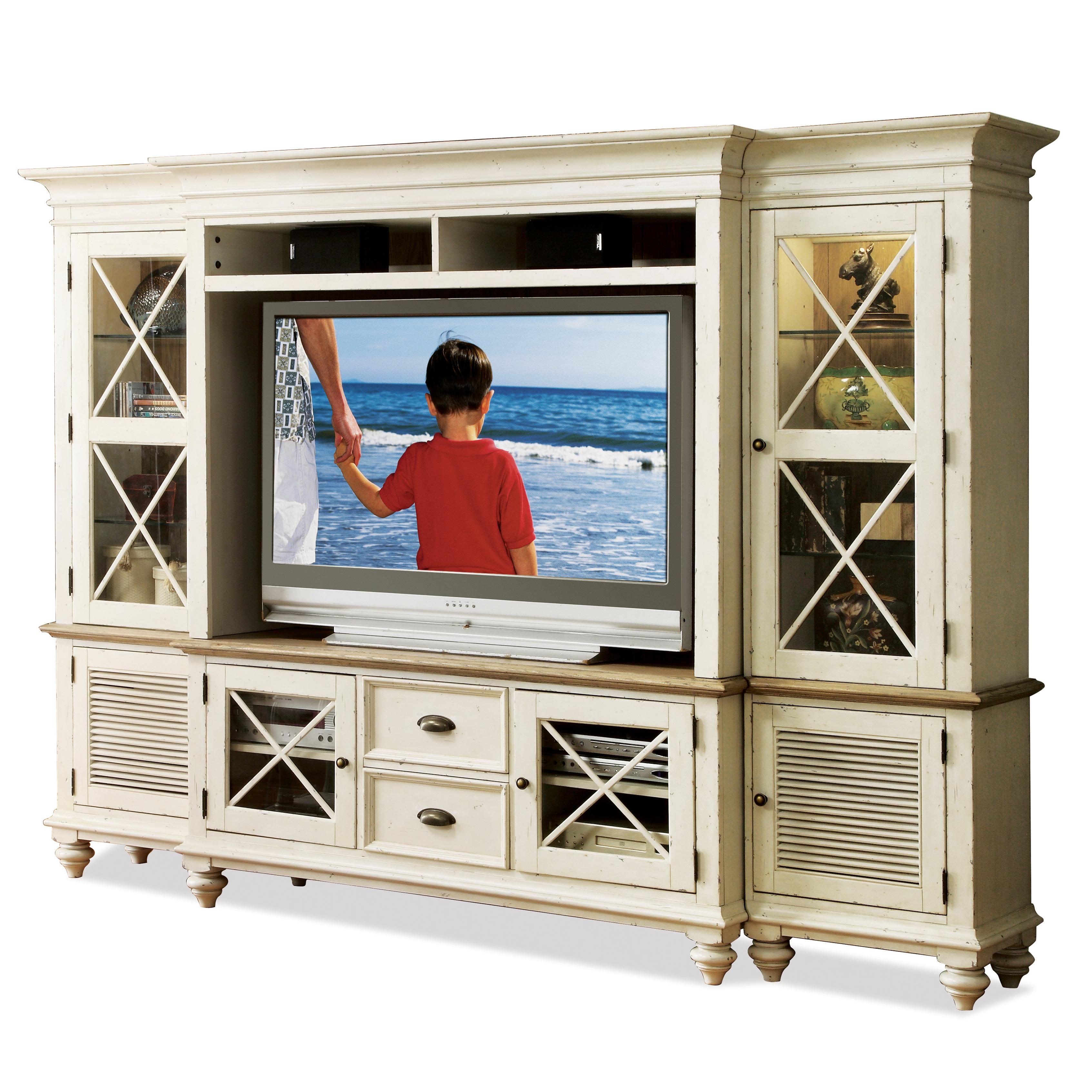 Riverside Furniture Coventry Two Tone Entertainment Wall System With Framed Glass Doors Hudson