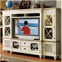 Riverside Furniture Coventry Two Tone 2 Door TV Console & Hutch with 6 Shelves - Shown with End Piers as Stand-Alone Unit