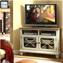 Riverside Furniture Coventry Two Tone 2 Door Corner TV Console with 2 Shelves - Shown in Room Setting