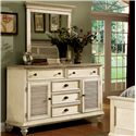 Riverside Furniture Coventry Two Tone Shutter Door Dresser with 5 Drawers & Adjustable Shelving - Shown with Optional Mirror in Bedroom