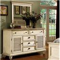 Riverside Furniture Coventry Two Tone Shutter Door Dresser & Framed Bevel Mirror  - Shown in Bedroom