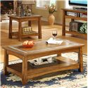 Riverside Furniture Craftsman Home Rectangular Coffee Table with a Slate Tile Boarder - Shown in a Room Setting