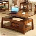 Riverside Furniture Craftsman Home Lift-Top Coffee Table with Slate Tile Border - Shown with Lift-Top