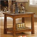 Riverside Furniture Craftsman Home Side Table with Slate Tile Boarder - Shown in a Room Setting