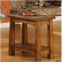 Riverside Furniture Craftsman Home Chairside Table with Slate Tile Boarder - Shown in a Room Setting