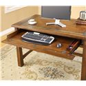 Riverside Furniture Craftsman Home Writing Desk - Drop-Front Drawer with Double Electrical Outlet