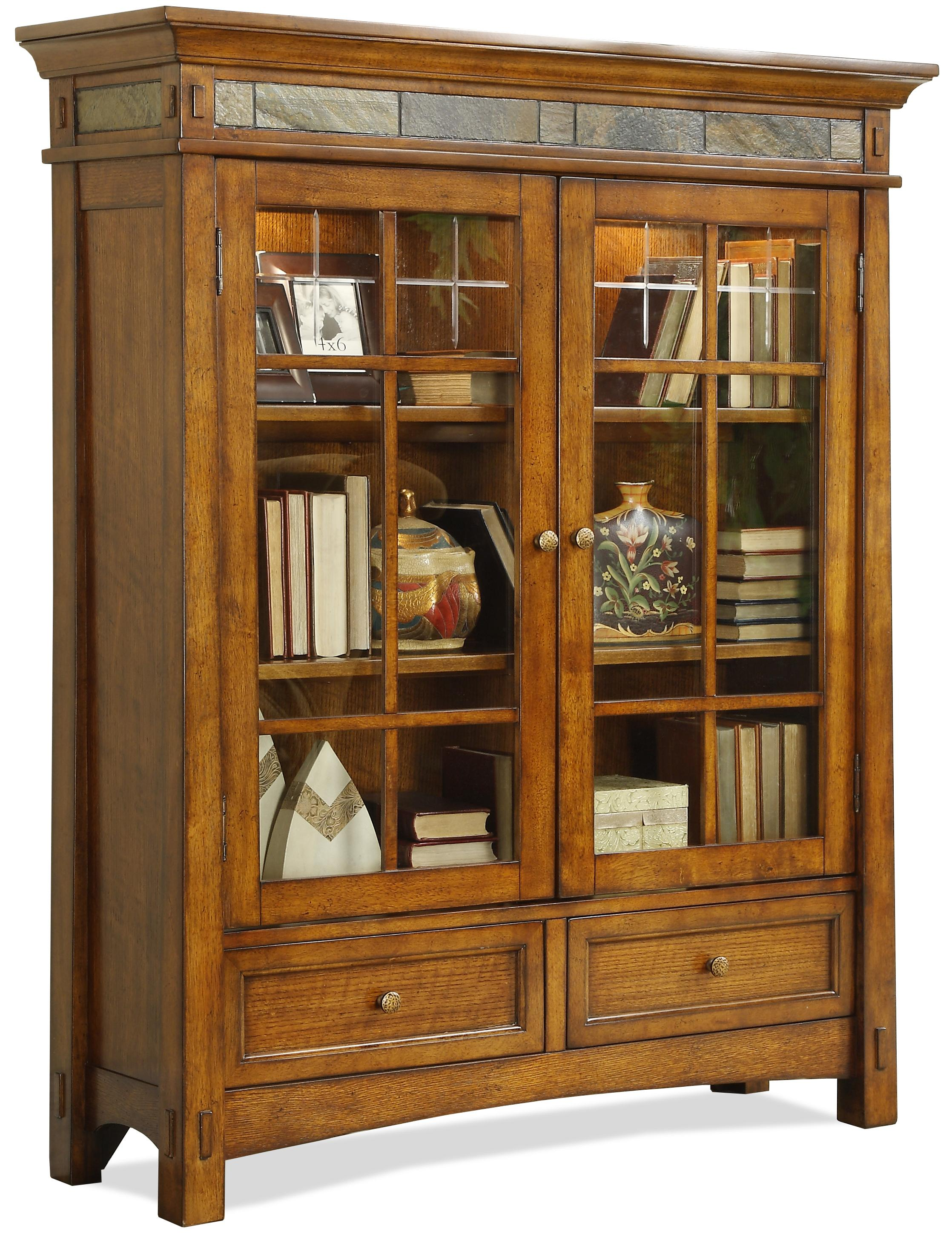 Riverside Furniture Craftsman Home 2 Glass Door Bookcase with Touch ...