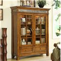 Riverside Furniture Craftsman Home 2 Glass Door Bookcase with Touch Accent Lights - Shown in Room Setting