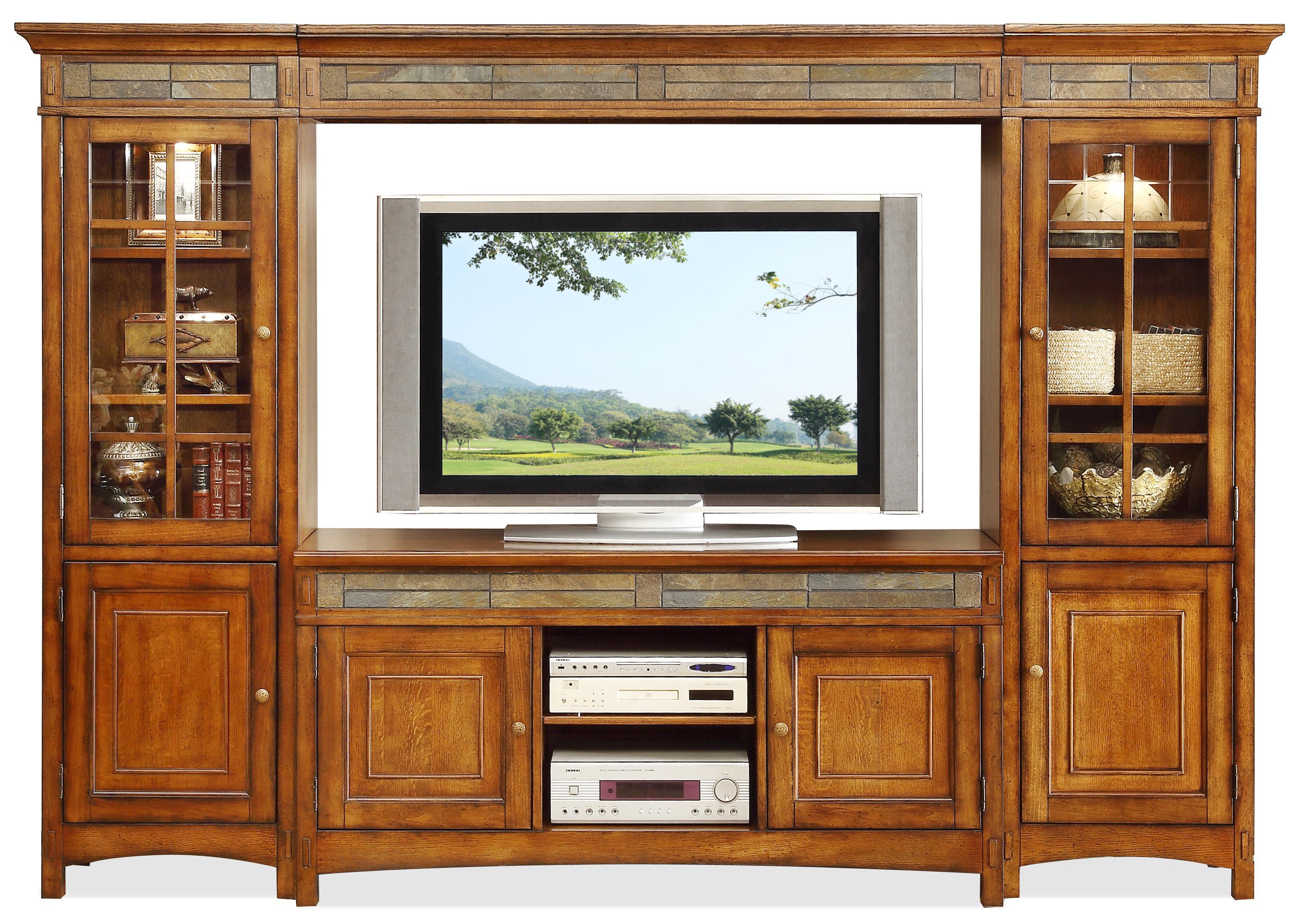 Riverside Furniture Craftsman Home 6 Door Entertainment Wall Unit ...