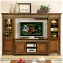 Riverside Furniture Craftsman Home 6 Door Entertainment Wall Unit with Slate Tile Accents - 2941+43+48+49 - Shown in Room Setting