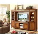 Riverside Furniture Craftsman Home 6 Door Entertainment Wall Unit with Slate Tile Accents - 2941+43+48+49 - Room Setting Alternate View