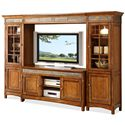 Riverside Furniture Craftsman Home 2 Door TV Console with Front Slate Tile Inlay - Shown as Entertainment Wall Unit