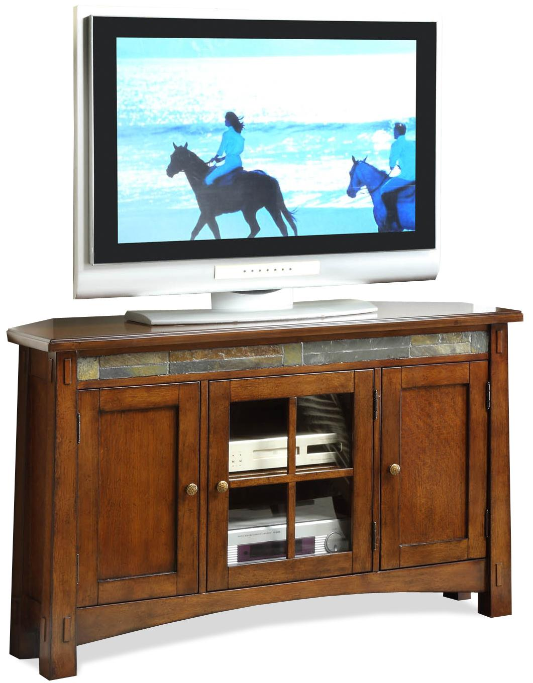Corner Console Table riverside furniture craftsman home 3 door corner tv console with