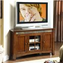 Riverside Furniture Craftsman Home 3 Door Corner TV Console with Front Slate Tile       - Shown in Room Setting
