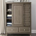 Riverside Furniture Dara II Sliding Door Chest with Mirrored Accents