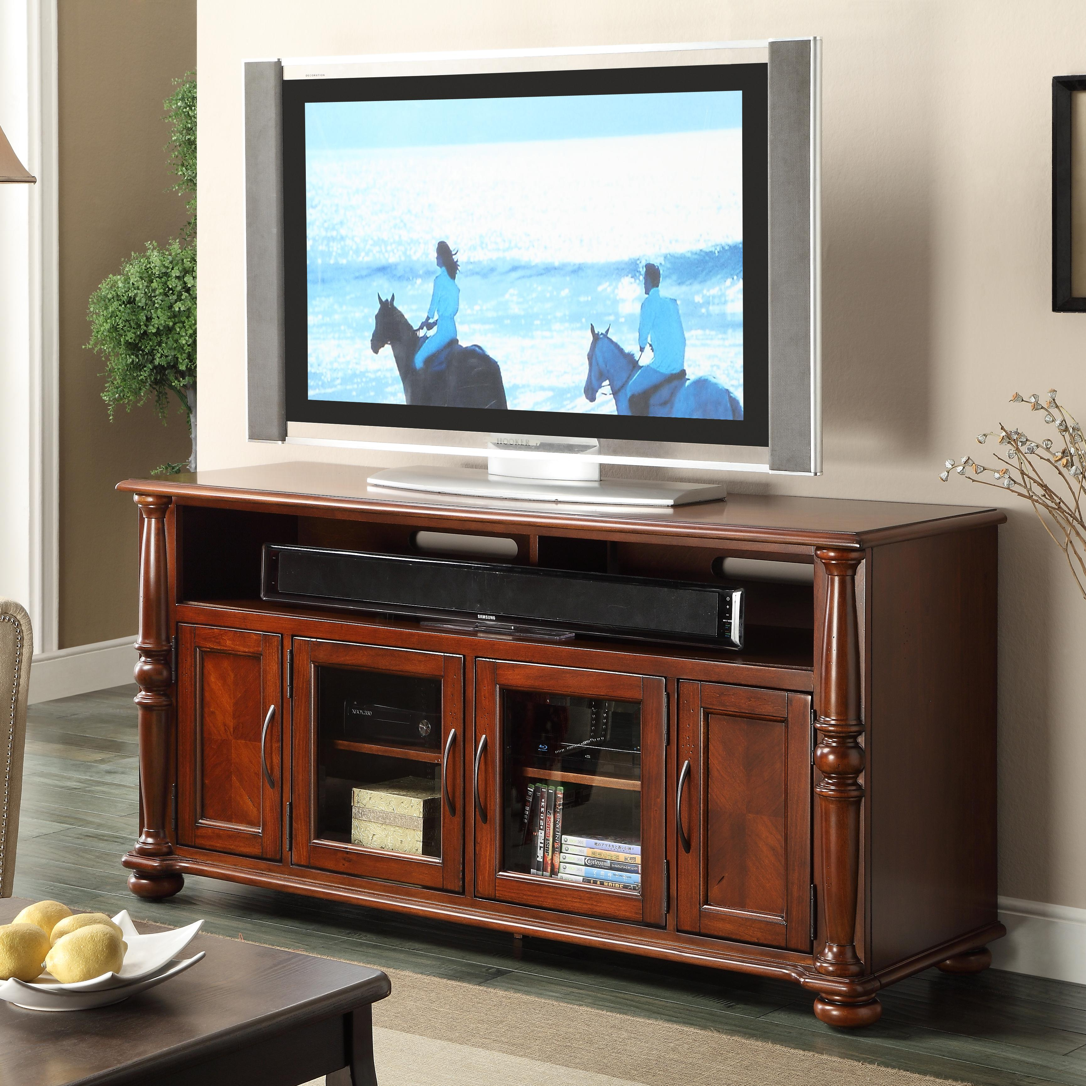 Riverside Furniture Dunmore 60 Inch Tv Console With 2 Glass Doors  # C Discount Meuble Tv