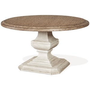 54-Inch Round Dining Table with Carved Pedestal