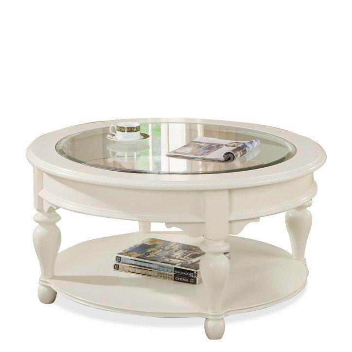 Great Riverside Furniture Essex Point Round Coffee Table With Beveled Edge Glass  Insert   AHFA   Cocktail Or Coffee Table Dealer Locator