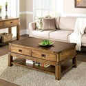 Riverside Furniture Falls Creek 2 Drawer Rectangle Cocktail Table