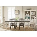 Riverside Furniture Juniper 7 Piece Leg Table and Windsor Chair Set - Shown with Inserted Leaf