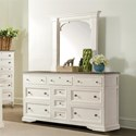 Riverside Furniture Juniper 10 Drawer Dresser and Bracket Mirror Combo