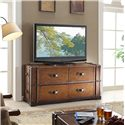 Riverside Furniture Latitudes 2 Drawer Steamer Trunk TV Console with 2 Drop Front Doors - Shown in Room Setting