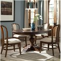 Riverside Furniture Lawrenceville 5 Piece Round Table & Bow Back Side Chair Set - 61251+52+4x56 - Shown in Room Setting