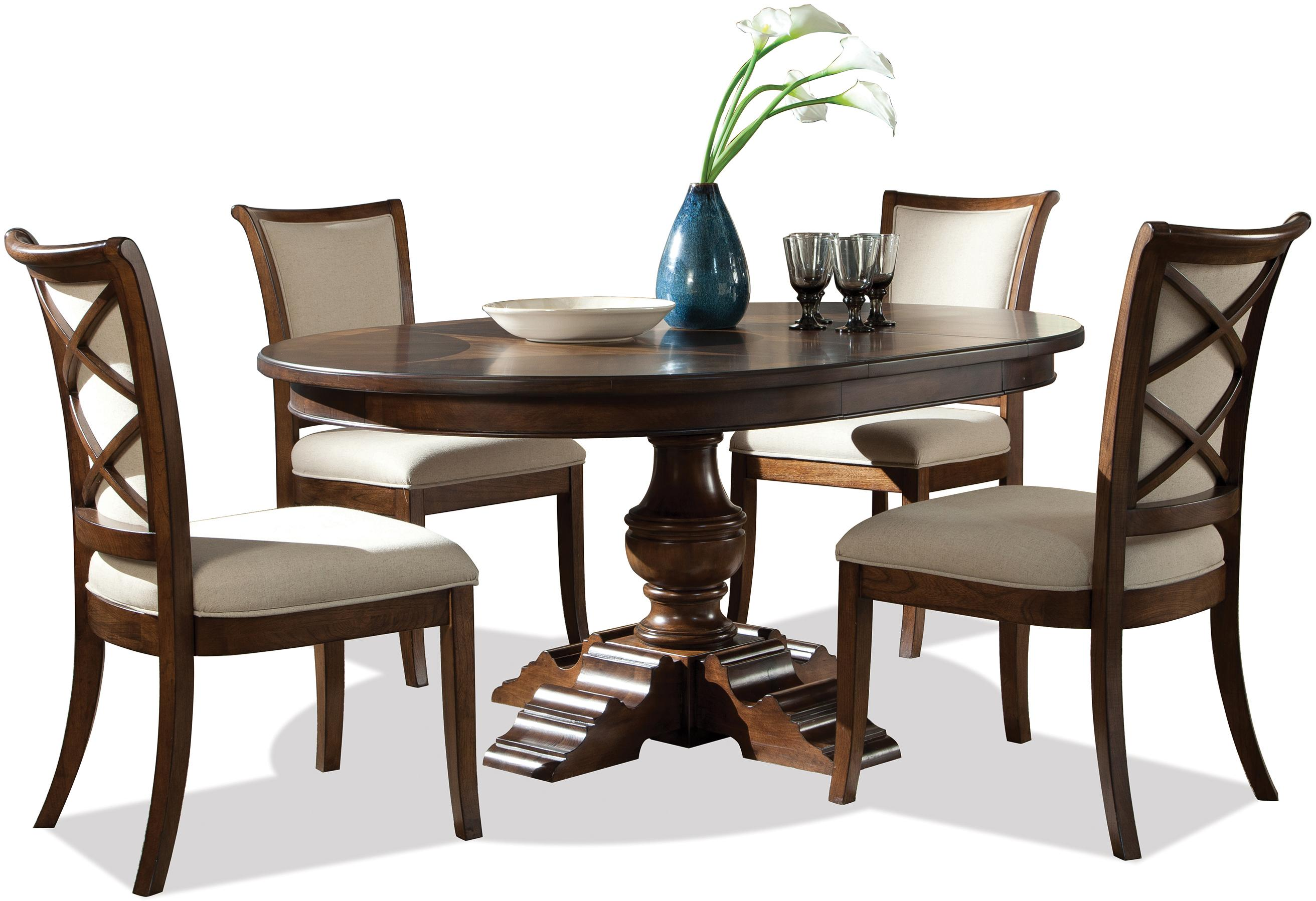 Riverside Furniture Lawrenceville 5 Piece Round Table U0026 XX Side Chair Set    AHFA   Dining 5 Piece Set Dealer Locator