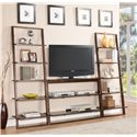 Riverside Furniture Lean Living Leaning Bookcase with 5 Shelves - Shown with Console in Room Setting