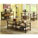 Riverside Furniture Lennox Street Side Table with Metal Legs - Shown with Coffee Table, Chairside Table, and Console Table