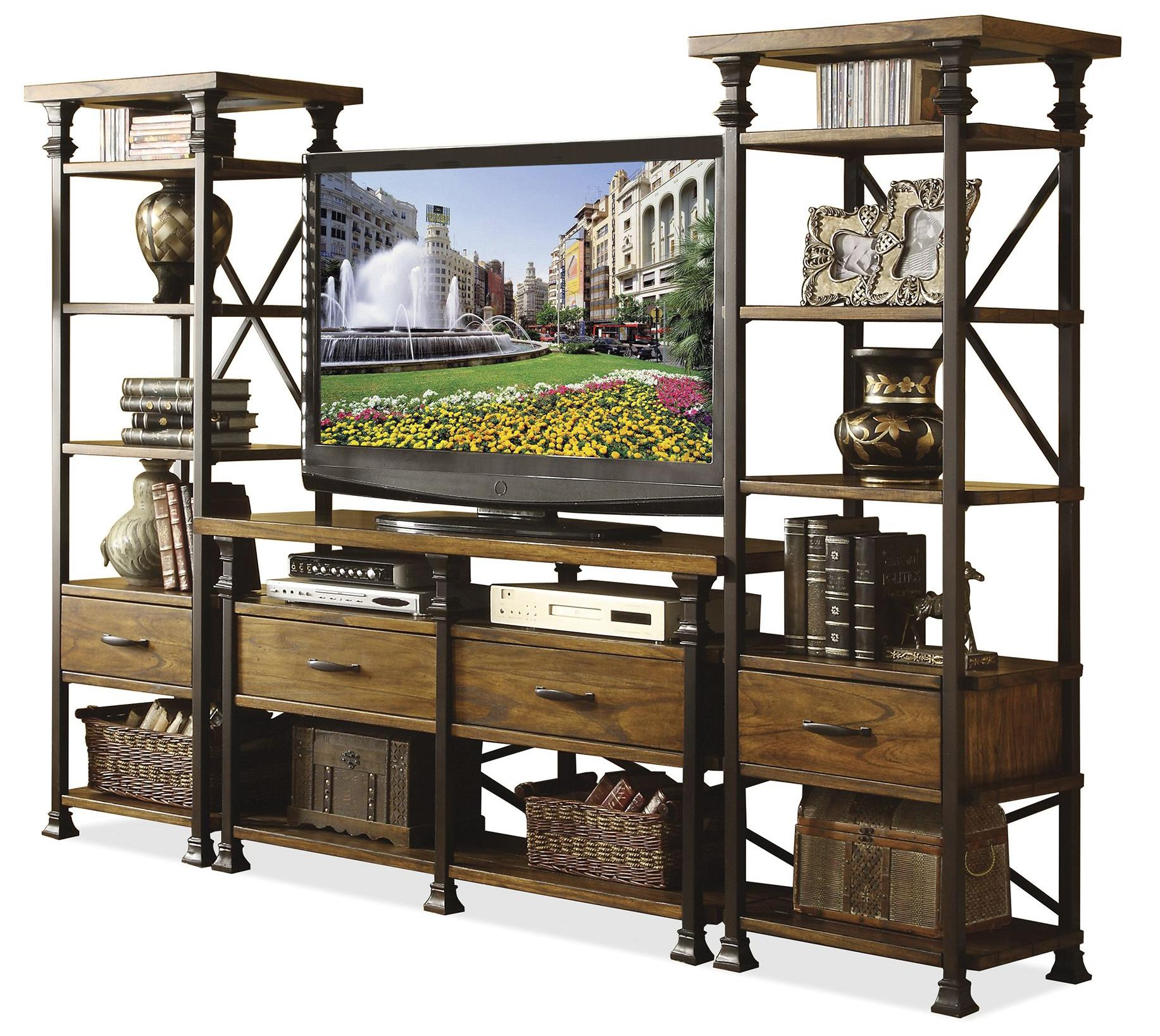 Riverside Furniture Lennox Street Console Table & Etagere Set - Item Number: 5615+2x5617+18