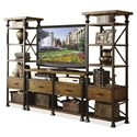 Riverside Furniture Lennox Street Metal Frame Etagere with 1 Drawer & 5 Shelves - Shown in Set of 2 with TV Console