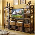 Riverside Furniture Lennox Street Metal Frame Etagere with 1 Drawer & 5 Shelves - Shown in Room Setting with Media Console