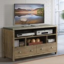 Riverside Furniture Liam Industrial 54 Inch TV Console with Metal Top