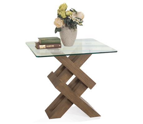Riverside Furniture Mirabelle Square End Tabl-Glass Top - Item Number: 26213