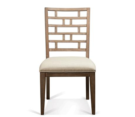 Curved Lattice Back Upholstered Chair