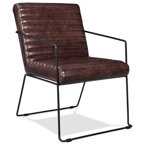 Horizontal Tufted Leather Arm Chair