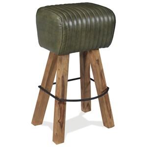 Tufted Leather Bar Stool