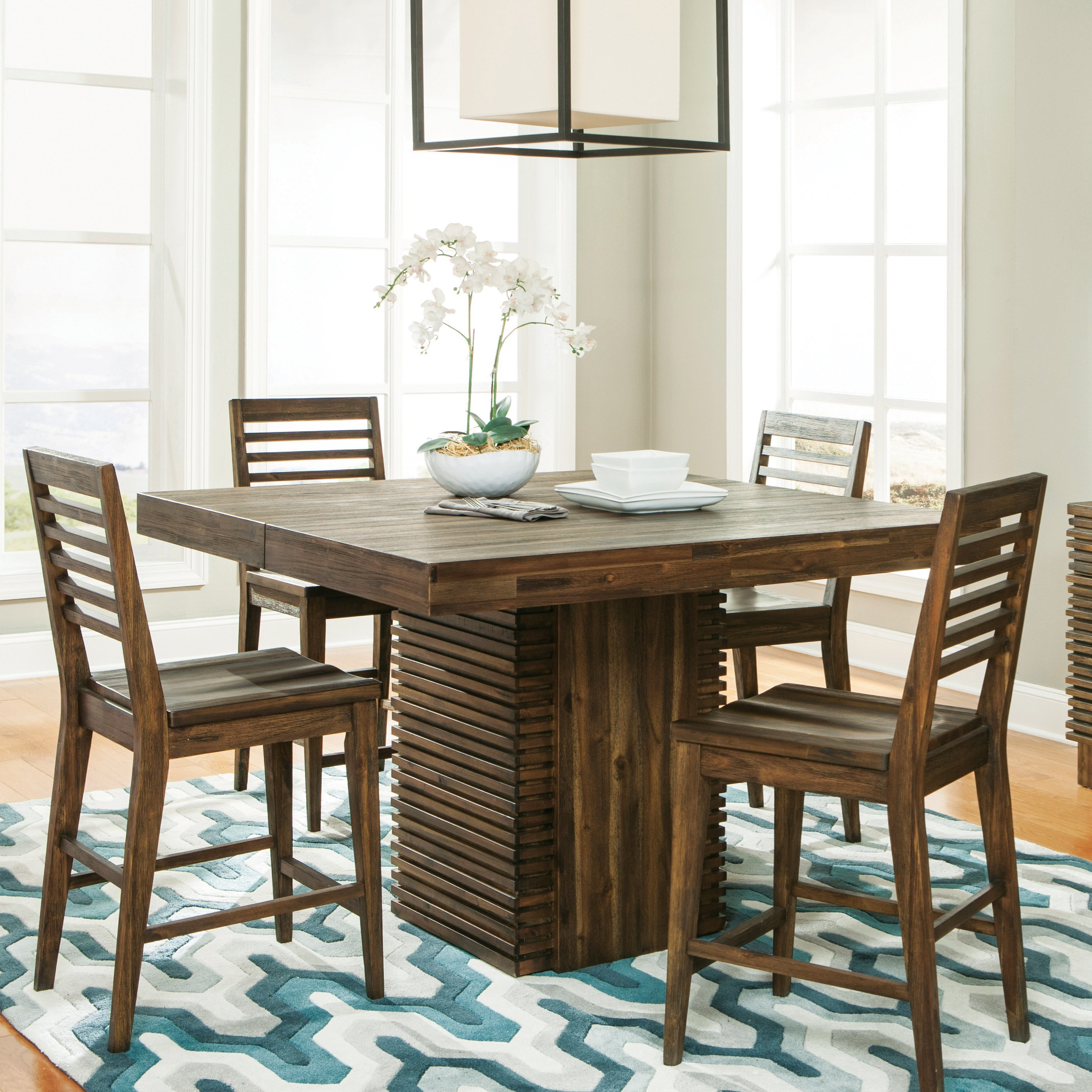 Modern gatherings five piece gathering height table set by riverside furniture