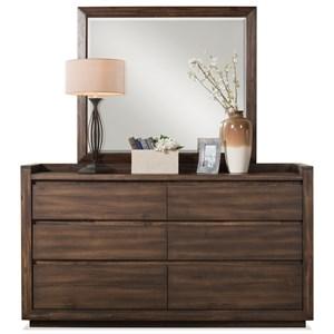 Riverside Furniture Modern Gatherings Dresser and Mirror Combo