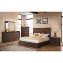 Riverside Furniture Modern Gatherings California King Platform Panel Bed with Grooved Headboard