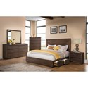 Riverside Furniture Modern Gatherings Queen Platform Panel Storage Bed with Rail Drawers