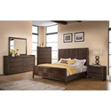 Riverside Furniture Modern Gatherings California King Parquet Bed in Brushed Acacia Finish
