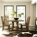 Riverside Furniture Newburgh 5 Piece Rectangular Dining Table and Side Chair Set - 37449+37450+4x37457