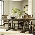 Riverside Furniture Newburgh Alder Hardwood Solid Rectangular Dining Table with Alder Veneer - 37450 - Shown with Side Chairs and Server