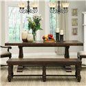 Riverside Furniture Newburgh Alder Hardwood Solid Rectangular Dining Table with Alder Veneer - 37450 - Shown with Bench