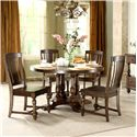 Riverside Furniture Newburgh Alder Hardwood Solid, and Alder Veneer Round Dining Table - 37451+37452 - Shown with Side Chairs and Server