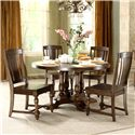 Riverside Furniture Newburgh Alder Hardwood Solid, and Alder Veneer Round Dining Table - 37451+37452 - Shown with Side Chairs