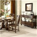 Riverside Furniture Newburgh Server with 5 Drawers - 37456 - Shown with Round Dining Table and Side Chairs